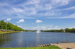 Pfaffenteich lake and Schwerin city, Germany Stock Images