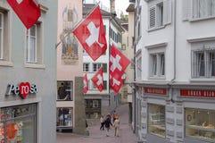 Pfalzgasse - Zurich. Pfalzgasse decorated with Swiss flags - Zurich, Switzerland, 13 July 2008 Stock Images