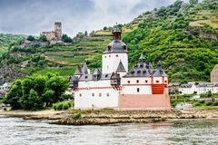 Pfalzgrafenstein Castle in Germany. The Pfalzgrafenstein castle, a toll collecting station on the Falkenau Island near Kaub, Germany. Gutenfels Castle on the royalty free stock photo