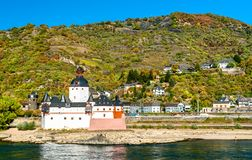 Pfalzgrafenstein Castle on an island in the Rhine river in Germany. Pfalzgrafenstein Castle on the Falkenau island in the Rhine river in Germany royalty free stock photography