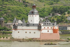Pfalzgrafenstein Castle. Pfalzengrafenstein castle is a typical toll castle located on a island in the middle of the rhine river in Germany. The castle was never Stock Image