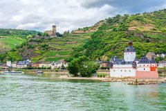 Pfalzgrafenstein Castle. In the Rhine Gorge near Kaub, with Gutenfels Castle in the background royalty free stock image