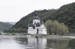 Pfalzgrafenstein Castle is a toll castle on the Falkenau island, otherwise known as Pfalz Island i stock photography