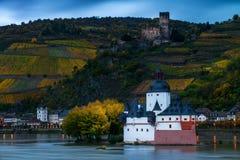 Pfalzgrafenstein slott på Rhen i Kaub, Tyskland Royaltyfria Foton