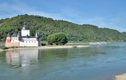 Pfalzgrafenstein slott, Rhine River, Tyskland Fotografering för Bildbyråer