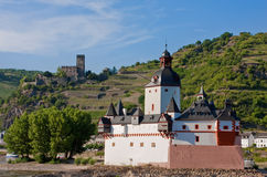 Pfalzgrafenstein toll station. With gutenfels castle in the background royalty free stock photo