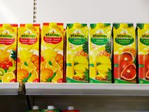 Pfanner Natural Juice on the shelf in a supermarket. Stock Image