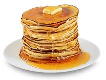 Pfannkuchen mit Butter und Sirup Stockbilder
