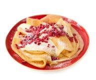 Pfannkuchen mit Himbeeren Lizenzfreie Stockfotos