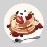 Pfannkuchen mit Erdbeere, Blaubeere und Ahornsirup stock abbildung