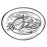 Pfannkuchen mit frischen Beeren auf der Platte Lizenzfreies Stockfoto