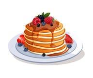 Pfannkuchen mit frischen Beeren und Ahornsirup stock abbildung
