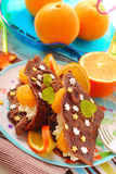 Pfannkuchen mit Hüttenkäse und Tangerinen Stockfotografie