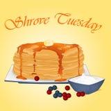 Pfannkuchen mit Honig, Butter, Sauerrahm und Beeren Feiertagsplakat- oder -plakatschablone in der Karikaturart Vektor Lizenzfreie Stockfotos