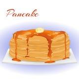 Pfannkuchen mit Honig und Butter für Faschingsdienstag Feiertagsplakat- oder -plakatschablone in der einfachen Karikaturart Vekto Lizenzfreies Stockfoto