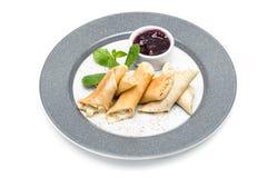 Pfannkuchen mit Käse und Stau Stockbild
