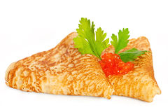 Pfannkuchen mit Kaviar Lizenzfreie Stockfotografie