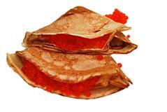 Pfannkuchen mit Kaviar Stockfotografie