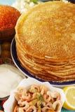 Pfannkuchen mit Meeresfrüchten Stockbild