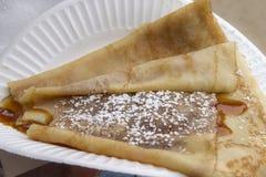 Pfannkuchen mit Sirup Stockbilder