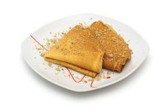 Pfannkuchen mit Walnüssen Stockfotografie