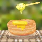 Pfannkuchen und Honig Stockfoto