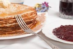 Pfannkuchenfrühstück stockbilder