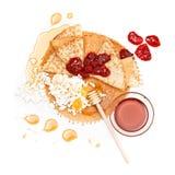 Pfannkuchenhonig, Störung und Hüttenkäse Stockfotos