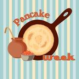 Pfannkuchenwochenvektor mit Kaviar Lizenzfreie Stockbilder