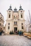 Pfarramt Christkindl Cathloic kyrka i Steyr Österrike nära cet arkivfoton