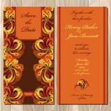 Pfau versieht Hochzeitseinladungskarte mit Federn Bedruckbare Vektorillustration Lizenzfreie Stockfotos