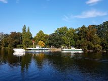 Pfaueninsel - Peafowl Island, the autumn landscape at the pier royalty free stock photos