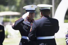 海军陆战队员折叠旗子在下落的美国战士的, PFC扎克苏亚雷斯,在高速公路23,对纪念塞尔维的驱动的荣誉使命纪念仪式 库存照片