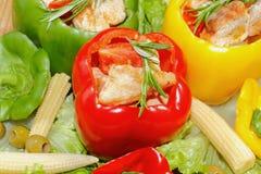 Pfeffer, angefüllte, gegrillte Truthahnbrust, Gemüse, Salat Lizenzfreies Stockbild