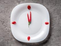 Pfeffer der heißen Paprikas auf weißer Platte mit Dekorketschup Stockbild