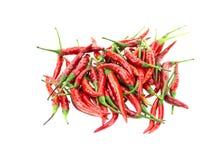 Pfeffer der roten Paprikas auf weißem Hintergrund Stockbilder