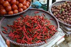 Pfeffer der roten Paprikas in Vietnam lizenzfreies stockfoto