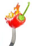 Pfeffer des roten Paprikas auf einer Gabel Lizenzfreie Stockbilder