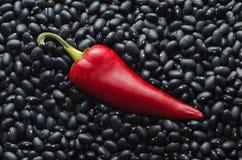 Pfeffer des roten Paprikas auf Hintergrund der schwarzen Bohnen Lizenzfreies Stockfoto