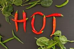 Pfeffer des roten Paprikas auf schwarzem Hintergrund lizenzfreies stockbild