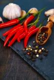 Pfeffer des roten Paprikas, Knoblauch und heiße Pfefferkörner Stockfotografie