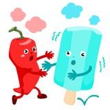 Pfeffer des scharfen Paprikas laufen zum kalten Eiscremevektor Lizenzfreie Stockfotos