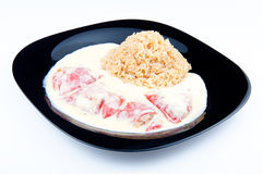 Pfeffer mit Reis Stockfoto