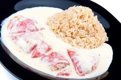 Pfeffer mit Reis Stockfotografie