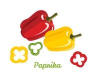 Pfeffer rot und gelb paprika Ganzes und Scheiben grünen Pfeffers lizenzfreie abbildung