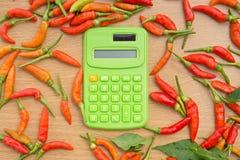 Pfeffer und Taschenrechner der roten Paprikas stockbild
