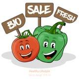 Pfeffer und Tomate mit Karikatur schauen mit Zeichen Stockfotografie