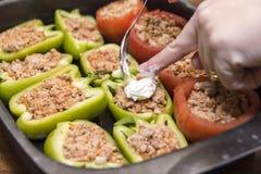 Pfeffer und Tomaten angefüllt mit Fleisch Stockfoto