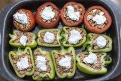 Pfeffer und Tomaten angefüllt mit Fleisch Stockbild