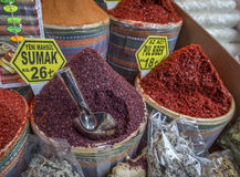 Pfeffern Sie und andere Gewürze am ägyptischen Basar, Istanbul, die Türkei Lizenzfreie Stockfotografie
